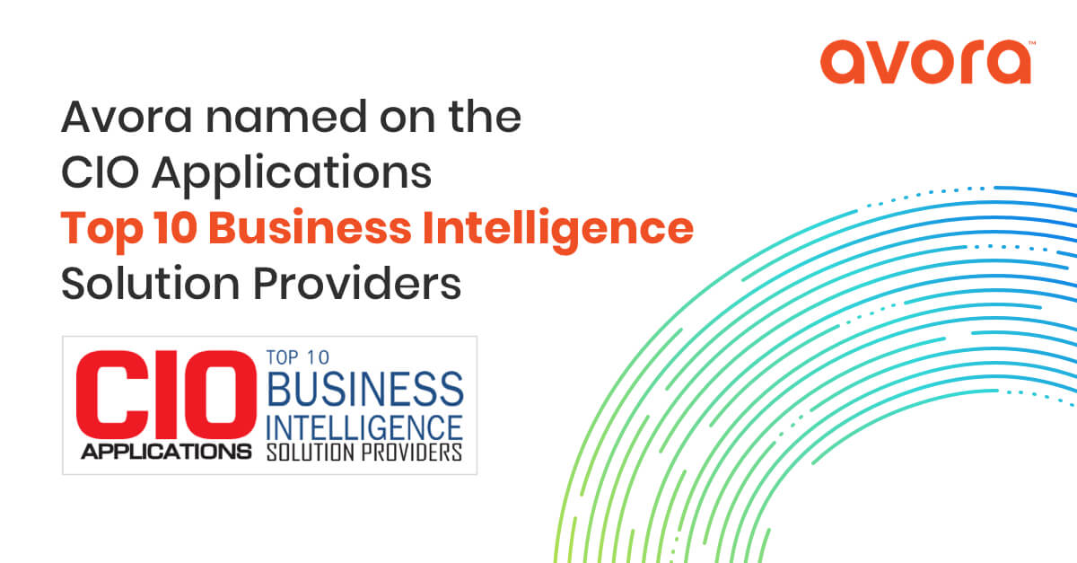 Avora named on CIO Applications Top 10 business intelligence solution providers